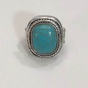 5/$20 Paparazzi Silver and Faux Turquoise Ring
